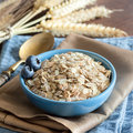 Rolled oats in a bowl Royalty Free Stock Photo