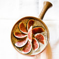 Rolled oats porridge breakfast with chia seeds and fresh figs Royalty Free Stock Images