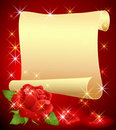 Rolled parchment and rose Royalty Free Stock Photo