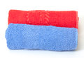 Rolled red and blue towels Royalty Free Stock Photos