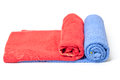 Rolled red and blue towels Stock Image
