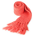 Rolled red textile scarf isolated Royalty Free Stock Photo