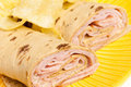 Rolled Sandwich with Chips Royalty Free Stock Photo