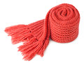 Rolled scarf red textile isolated on white background Royalty Free Stock Image