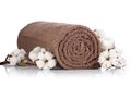 Rolled towel with branches of cotton a brown on a white background Royalty Free Stock Photo