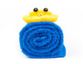 Rolled up blue towel isolated on white Royalty Free Stock Images