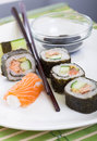 Rolled up sushi and maki rools Stock Image