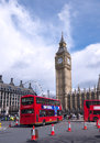 Rollen und Bus in London Stockbilder