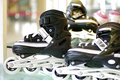 Roller blade shoes black and white Stock Photos