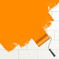 Roller brush painting orange Stock Images