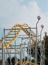 Roller coaster in an amusement park detail Royalty Free Stock Images