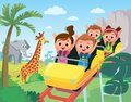 Roller-coaster. Children ride on roller-coaster in amusement park Royalty Free Stock Photo