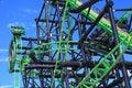Roller coaster Green Lantern detail Royalty Free Stock Photo