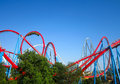 Roller coaster port aventura red spain Royalty Free Stock Photo