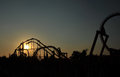 Roller coaster ride silhouette Stock Photos