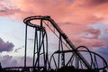Roller coaster sunset sheikra rollercoaster at busch gardens tampa florida Royalty Free Stock Photography