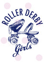 Roller derby girls team spot and fashion Royalty Free Stock Images