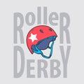 Roller derby helmet typography, t-shirt graphics