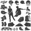 Roller Skater Black White Icons Set