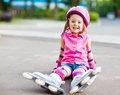 Roller skater in protective equipment Stock Photos