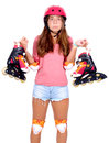Roller skates teenage girl with isolated in white Stock Photo