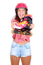 Roller skates teenage girl with isolated in white Stock Images