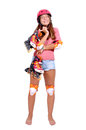Roller skates teenage girl with isolated in white Royalty Free Stock Photography