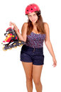 Roller skates teenage girl with isolated in white Royalty Free Stock Image