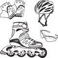 Roller skating equipment - doodle syle Stock Photos