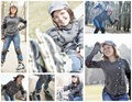 Roller skating girl collage a of teenager photos pretty wide smiling in skates standing and posing fast in Stock Photography
