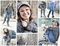Roller skating teenager girl collage a of photos lovely wide smiling wearing fashionable glasses and funny hat close up Royalty Free Stock Images