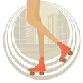 Rollerblading in the city stylish illustration of female Royalty Free Stock Photography