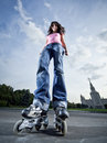 Rollerblading girl Royalty Free Stock Images