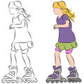 Rollerblading Little Girl Royalty Free Stock Photo