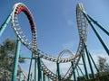 Rollercoaster in amusement park Stock Photo