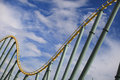 Rollercoaster rail in an amusement park Royalty Free Stock Image
