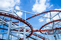 Rollercoaster ride with sky at theme park Stock Photo