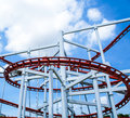 Rollercoaster ride with sky at theme park Royalty Free Stock Photos