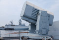Rolling airframe missile system on German navy corvette Royalty Free Stock Photo