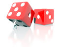 Rolling dice tiny man a Royalty Free Stock Image