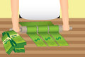 Rolling in the Dough (Money) Royalty Free Stock Photo