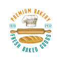 Rolling pin and Chef with loaf or kitchen, cooking stuff for menu decoration. logo emblem or label, engraved hand drawn