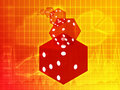Rolling red dice illustration Stock Photo