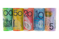 Rolls of Australia Banknote. Different Australian dollars money Royalty Free Stock Photo