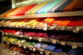 Rolls of cloth colorful in ikea supermarket in bucharest romania Royalty Free Stock Images