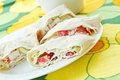 Rolls with crab sticks and pita bread Royalty Free Stock Images