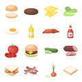 Rolls, cutlets, cheese, ketchup, salad, and other elements. Burgers and ingredients set collection icons in cartoon