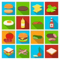 Rolls, cutlets, cheese, ketchup, salad, and other elements. Burgers and ingredients set collection icons in flat style