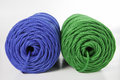 Rolls of green and blue polyester rope close up Stock Photography