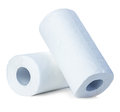 Rolls of paper towels, isolated on white Royalty Free Stock Photo